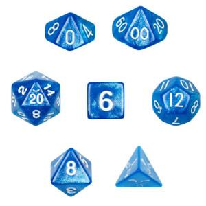 Glitter Blue/White Dice 7 Pack
