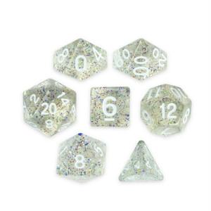 Glitter Clear/White Dice 7 Pack