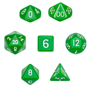 Opaque Green/White Dice 7 Pack