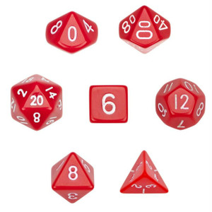 Opaque Red/White Dice 7 Pack