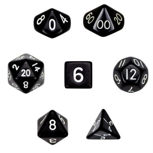 Opaque Black/White Dice 7 Piece Pack