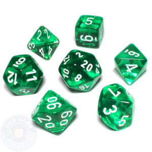 Translucent Green/White Dice 7 Pack