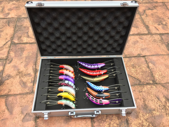 Custom made Aluminium Lure Case to suit JD/Eddy Lures.  This case is designed to store all your Big Cod Lures so they don't get tangled and don't rub against each other.  Lure cases are strong and sturdy designed  to look after, and protect your favourite lures.  There are 2 different sizes available :-  Large Cod Lure Case.    Designed for the 150mm Super Bugs and the 140mm Pythons.     Medium Cod Lure Case.    Designed for the 85mm Super Bugs and the 100mm Pythons and the 120mm Cod Buster.