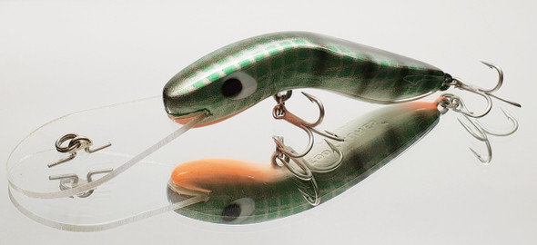 Deadly lure for Yellow Belly, Bass, Murray Cod, Flathead, Jacks, Barra etc. Dives to 12-15ft, wide action and SUPER TOUGH.  Solid polyurethane.   VMC Hooks