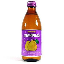 Peardrax in a glass bottle with Purple labeling