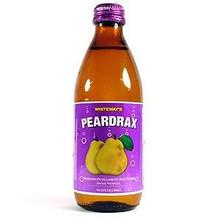 Peardrax in a glass bottle with Purple labeling