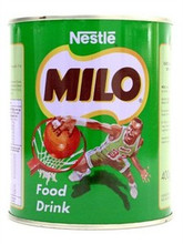 Milo Chocolate Drink Mix 14oz packaged in an aluminum can with lime green labeling