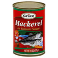 Grace Jack Mackerel in Tomato Sauce 15oz packaged in a can with Red labeling