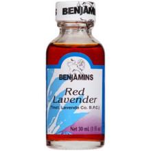 Red Lavender in glass bottle