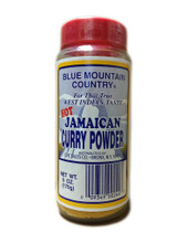 Blue Mountain Curry Powder packaged in a plastic container with Blue and Yellow labeling