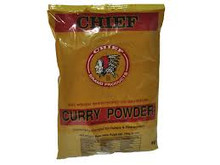 Chief Curry Powder packaged in clear plastic with Orange and Red labeling