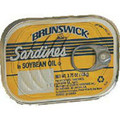 Brunswick Sardines in oil 3.75oz packaged in an aluminum can with Yellow labeling