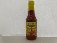 Caribbean sunshine ketchup with flavor of scotch bonnet pepper 12oz in a glass bottle