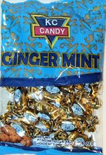 Ginger Mint KC Candy wrapped individually in a clear plastic with Blue labeling