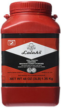 Lalah's Curry Powder 3lb packaged in a Red plastic container with White and Black labeling