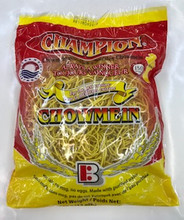 Champion Chowmein Noodles 12oz packaged in clear plastic with Yellow and Red labeling
