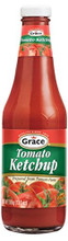 Grace Tomato Ketchup packaged in a glass bottle with Green and Red labeling