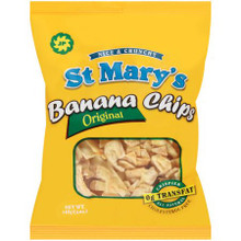 ST Mary's Banana chips 5 oz packaged in Yellow packet with Blue labeling