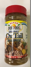 OCHO RIOS OXTAIL SEASONING 12 OZ packaged in a plastic bottle with Yellow and White labeling with a Red cap   DRY SEASONING,