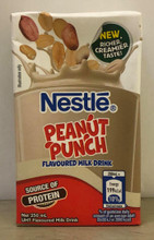 NESTLE PEANUT PUNCH 250 mL packaged in a rectangular shaped container with Brown and Red labeling