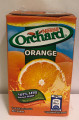 Nestle Orchard Orange drink packed in a rectangle shaped container with Orange and Blue labeling