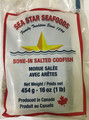 SEA STAR BONE-IN  SALTED CODFISH 1 LB packed in clear plastic with Red and White labeling