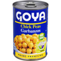 Goya Chick Peas 15.5 oz. packaged in an Aluminum can with blue labeling.