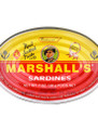 Marshall's Sardines in Tomato Sauce 15 oz in an aluminum tin with yellow and red labeling