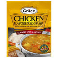 Grace Chicken Flavored Soup Mix Country Style Seasoned 60 grams packaged in a Gold and Red packet
