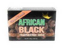 Royal Touch African Black Complexion Soap 4.41 oz  Black box of soap with green and orange writing