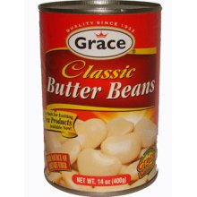 Grace Butter Beans 14oz in an aluminum can with Red labeling