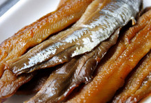 Smoked Herring Fillets on white tray