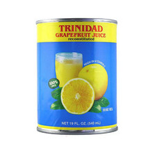 Grapefruit juice in Blue and Yellow can