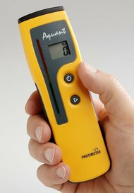 Easy-to-use non-invasive moisture measurement  The Protimeter Aquant from GE is ideal for assessing and monitoring the relative moisture level of building materials including drywall, plaster, masonry, concrete and fiberglass. The Aquant can be used to detect the presence of moisture behind floor and wall coverings such as ceramic, vinyl and many other materials. Item #F320 $375 Suggested List U.S. Funds 	    FeaturesSpecsDocumentation  Product Features      Quick, non-invasive detection of moisture up to ½ in. below surfaces     Detect moisture beneath hard surface coverings such as vinyl and tile     Not adversely affected by surface moisture such as condensation     Dual LCD and LED display with color-coded scale    Product Specifications   Model 	 	F320 Dimensions (H × W × D)	 	7 × 1 × 2 in. 178 × 25 × 51 mm Gross Weight 	 	4 oz | 100 g Display 	 	LCD Batteries (included) 	 	9 volt Non-invasive measurement range	 	0-999 (relative) up to ½ in. or 25.4 mm deep  Legend Rewards: 100 Points The Aquant measures relative moisture levels up to ½ inch or 20 mm deep using radio frequency energy. An easy-to-read digital display is synchronized with a color-coded LED scale for quick assessment. No pins or probes mean no damaged materials. To use, simply hold the Aquant against the surface of the material being tested.