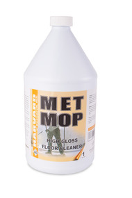 Met Mop is a modern combination of synthetic detergents and emulsifiers, which provide multipurpose cleaning of many surfaces. This product will safely and completely perform all cleaning jobs from damp mopping and light cleaning to removal of greasy soils. A wide range of flexibility allows this product to be used on any surface not harmed by water. This is a low foaming, non-stripping multi-purpose cleaner that also rinses freely. It contains no acids, abrasives, or strong alkalis. Super concentrated and can be diluted as high as 1 ounce per gallon. This product is completely biodegradable and will not contaminate streams or septic tanks.