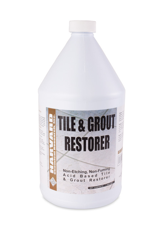 Tile and Grout Restorer is a concentrated blend of mild acids, chelating and wetting agents. It is formulated as a non-etching cleaner and degreaser for glazed and unglazed ceramic tile, porcelain tile, Saltillo and quarry tile as well as sanded and unsanded grouts. This product will clean away built up soil, mineral deposits, hard water spots and soap scum and will help whiten and brighten stained and discolored grout .
