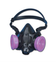 Silicone one half mask respirator; cradle suspension system; low profile; low inhalation and exhalation resistance