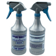 SprayMaster 32oz Spray Bottle  Spraymaster - The Ultimate Sprayer. This 32 oz. heavy duty chemically resistant sprayer will stand up to all types of chemicals..even most solvent based liquids that destroy other sprayers. Dispenses 3 times the volume per stroke as standard sprayers. The unique silver and blue color scheme quickly indicates that this is no ordinary sprayer. Spraymaster is the only sprayer backed with a 5 year guarantee!!! Guarantee doesn't apply to liquids that congeal or with chlorinated solvents. Sprayhead has Viton® internal components.