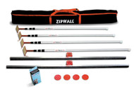 "The perfect starter barrier kit. Create a dust barrier up to 30 feet long in minutes. Poles extend from 4' 7"" to 12'.   Includes: Four 12' aluminum spring loaded poles,  2 Foam Rail™ crossbars, 4 heads, 4 plates, 4 tethers, 4 Grip Disks™, 2 ZipWall Standard  Zippers and 1 heavy duty carry bag. The four aluminum poles extend from 4' 7"" to 12 feet. To use the Foam Rail crossbars you will need to remove the head of the pole by pulling it straight off. Then snap the Foam Rail onto the top of pole. Each Foam Rail crossbar is five feet long. The GripDisk™ should always be used especially on hard surfaces. Plastic sheeting is not included."