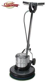 "17"" 1.5 hp Classic Metal Floor Machine - C171HD  Powr-Flite's 17"" 1.5 hp Classic floor machine provides the power for the toughest jobs and the durability to last. The 17"" 1.5 hp Classic Floor Machine is powerful enough to handle tough jobs like grinding, but can also be used for more delicate jobs such as buffing finished floors. All metal handle housings, tube and trigger assemblies add to the long-lasting durability of the machine.  Features: • Powerful 1.5 hp, 175 RPM motor can handle any job with ease • All Steel Triple Planetary Gear Box • Uses 16"" - 17"" Pads / Brushes • Thumb activated safety interlock switch prevents accidental start ups • High polish chrome finish is chip and corrosive resistant, keeping the Classic looking newer longer • Full surround non-marking bumpers help prevent damage to walls and furniture • Each machine is assembled and tested by skilled American workers  This 17"" 1.5 hp Classic Floor Machine is a great all-purpose floor machine with plenty of power and durability to handle your toughest jobs. 175 RPM is considered the most versatile floor machine speed and with the power of the 1.5 hp motor, a wide variety of applications are at your diposal - including shampooing, scrubbing, sanding, scraping, grinding, stripping and buffing."