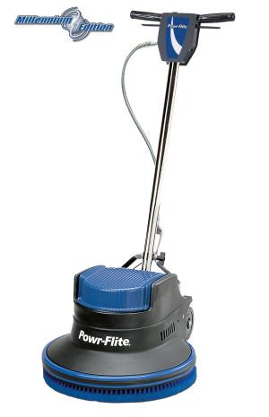 """20"""" 1.5 hp Millennium Edition Dual Speed Floor Machine - M202-3  The Powr-Flite 20"""" 1.5 hp Millennium Edition Dual Speed Floor Machine has the advantage of standard 175 RPM and high 320 RPM speeds for the most aggressive work loads. Dual speed 175 / 320 RPM machines have the power and speed to spray buff and dry polish tile floors, providing excellent results.  Features: • Dual 175 / 320 RPM operating speeds • Patented rotationally molded one-piece housing reduces noise and vibration • Powerful 1.5 hp motor can handle any job with ease • All Steel Triple Planetary Gear Box • Uses 16"""" - 17"""" Pads / Brushes • Thumb activated safety interlock switch prevents accidental start ups • Each machine is assembled and tested by skilled American workers  Millennium Edition Dual Speed floor machines effectively scrub, strip, spray buff and polish every type of floor. Incorporating a patented noise and vibration reducing molded housing, the Dual Speed Floor Machines provide versatility for every job."""