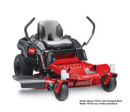 """Disclaimer*Time savings based on survey of consumers who purchased TimeCutters from 1/1/18-9/30/19. Time savings will vary. **22.5 HP at 3,600 RPM SAE J1940 and SAE J2723, as rated by Toro® as configured to meet safety, emission and operating requirements, the actual engine horsepower on this mower may be significantly different. ***See retailer for warranty details. Engine22.5 hp** Toro Commercial V-Twin 708cc w/Self-Cleaning Air Filter Housing Fuel Capacity3 gallons /11.4 L Ground SpeedMOW: 7 mph/3 mph (11.3 km/h / 4.8 km/h) TRIM: 5.5 mph/2.4 mph (8.8 km/h / 3.8 km/h) TOW: 4 mph/1.7 mph (6.4 km/h / 2.7 km/h) Warranty3-year / unlimited hour residential warranty 3-year / 300-hour commercial engine warranty*** Hour MeterOptional Steering ControlsDual Wrap Around Levers Cutting Width42"""" / 107 cm Tires11"""" x 4"""" (27.9 cm x 10.2 cm) Front, 18"""" x 7.5"""" (45.7 cm x 19 cm) Rear Engine Displacement708cc TransmissionDual Hydrostatic HG-ZT2100 Cup HolderStandard Deck Design42"""" IronForged™ Fabricated Deck Foot Operated <br>Height of CutOptional Height of Cut1.5"""" / 3.8 cm - 4.5"""" / 11.4 cm Seat16"""" (40.6 cm) Handcrafted Washout PortStandard"""