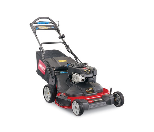 """Engine 10.00 ft-lb Gross Torque* Briggs & Stratton® 223cc OHVFuel Capacity 1.2 Qt. (Up to 1 hour of run time)Cutting Width 30"""" / 76 cmHeight of Cut 1.25"""" - 4.25"""" / 3.2 - 10.0 cm 2-pointGuaranteed-to-Start Promise 3-Year GTS Full**Starter RecoilDrive System Personal Pace® Rear-Wheel Drive w/Traction AssistDeck Material Steel Deck, Cast-Aluminum FrameMulch, Bag, Side Discharge StandardWashout Port StandardWarranty 3-Year Full**Blade Override System (BOS) StandardGround Speed Up to 4.5 mph / 8.0 km/hHandle Type Quick Stow Storage HandleWheel Height Front 8"""" / 20.3 cm, Rear 10"""" /25.4 cmWeight 140 lbs. / 63.5 kgDisclaimer *The gross torque of this engine was laboratory rated at 2800 rpm per SAE J1940 by the engine manufacturer. As configured to meet safety, emission and operating requirements, the actual engine torque on this class of mower will be significantly lower. **See dealer for warranty details."""