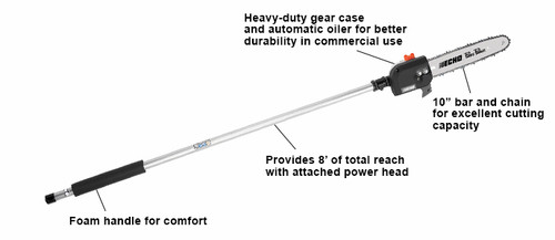Power Source CompatibilityPAS-225, PAS-230, PAS-266, PAS-280 and PAS-2620 Length (in)57 Weight (lb)4.8 Bar Length (in)10 Consumer Warranty5 years Commercial Warranty2 years