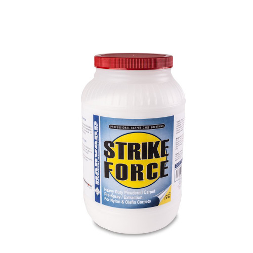 Strike Force is a super strength high pH detergent that dissolves quickly and completely and will melt away the toughest carpet soils .This high alkaline, solvent based formula will blast off grease and grime without extended dwell time. Strike Force will penetrate, emulsify and suspend soils so they can be rinsed away freely. This will be your go to product for filthy restaurants, apartments, commercial and industrial properties. Strike Force works great on olefin carpets as well as nylon.