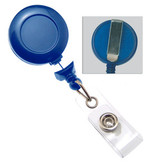 2120-3051 - RETRACT BADGEREEL NO-TWIST NAVY BLUE ROUND SOLID FACE SLIDE CLIP CLEAR VINYL STRAP 100 PER PACK