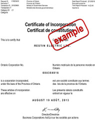McHines Ontario Articles of Corporation