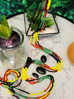 Ltd. Ed. Waist Beads - Opaque Green, Yellow, White & Clear Red