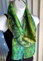 Hand Painted Silk Scarf - Evergreen