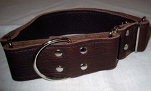"1 & 1/2"" Chocolate Brown Leather Collar.  Fits neck siz3 14"" to 21"" but can be made to order.  Just let us know you dog's neck size."